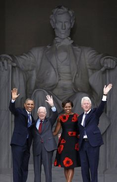 President Barack Obama, First Lady Michelle Obama and former Presidents Jimmy Carter and Bill Clinton at the Anniversary of the March on Washington today. The Obama Diary Beautiful Black Presidents, Greatest Presidents, American Presidents, American History, Dead Presidents, Presidents Wives, Barack Obama Family, Michelle And Barack Obama, Obamas Family