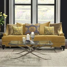 Modern mustard yellow couch. Beautiful modern couch for your stylish living room. Found at PFOdirect.com