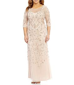 54ec9d416b6 Adrianna Papell Plus Beaded FloralScroll Gown  Dillards Plus Dresses