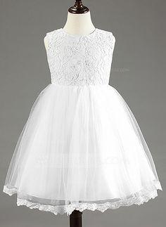 [US$ 31.99] Ball Gown Knee-length Flower Girl Dress - Cotton Blends Sleeveless…