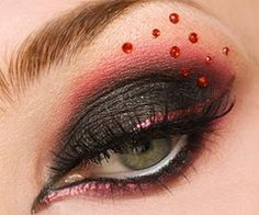 Black-->Red Shadow Blend w/ Shimmering Red Liner and Red Crystals/Stones
