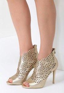 Zlote Sandaly Renee W Stylu Klasycznym Heels Shoes Peep Toe