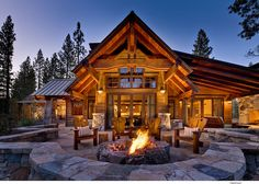 O beautiful roof, nice wall, great fire pit  Residential Home by  Sandbox Studio, Tony Hardy Construction, Casey Hudson Design in  Martis Camp, Truckee, CA,
