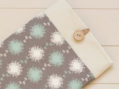 Macbook Air 13, Macbook Pro Retina 13 inch case, Laptop sleeve/ Aqua Grey Dandelions via Etsy