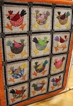 Quilting Projects, Quilting Designs, Sewing Projects, Quilt Design, Quilting Patterns, Applique Patterns, Applique Quilts, Chicken Quilt, Bird Quilt
