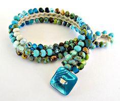 """Crochet bracelet, beaded, aqua bracelet, """"waterfall"""", bohemian jewelry, crochet jewelry, fall fashion, ooak"""