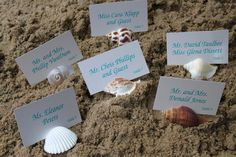 Beach Wedding Place Card Holders with Matching Place Cards