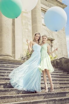 Pretty blue and green bridesmaids with balloons. Kelsey Rose 2015   bridesmaid  dresses   1f33be447