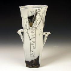 White Birch Vase by JosiesPotShop on Etsy