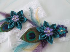 Peacock Wedding Garter Set Teal Purple Garters Ivory Lace Bridal Feather Rustic W Kanzashi Flowers Unique