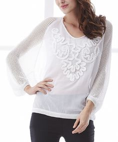 Love this Simply Couture White Sheer Crochet Scoop Neck Top by Simply Couture on #zulily! #zulilyfinds