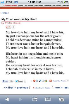 My True Love Has My Heart - Philip Sidney.  I love you, Peter!