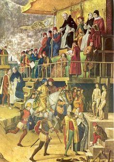 Dominicus Guzman..< 1500. Paneel door Pedro Berruguette. Spanje, Madrid, Prado. Auto-de-fe (= officiële ten-uitvoer-legging van een vonnis van de Inquisitie; meestal doodvonnis) o.l.v. Sint Dominicus.