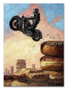Dark Rider Again by Eric Joyner Painting Print on Wrapped Canvas