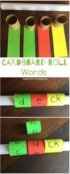 Make these frugal but fabulous spelling tools- cardboard roll words!   All you need is some cardboard rolls(I used a kitchen towel roll and toilet paper rolls) and colour paper(or paint if you'd rather paint the rolls): I covers the long roll in white paper. Then, I cut the TP rolls in half and strips …