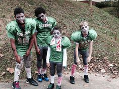 Zombie football player costumes. Zombies. DIY costumes. Group costumes