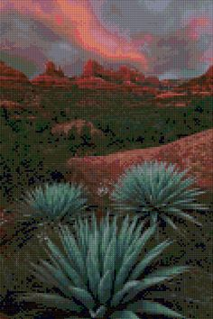 Coconino National Forest Arizona landscape cross stitch pattern.  This chart uses 50 DMC colors and the finished size is 120 x 180 stitches, which is approximately - • 7.5 x 11 - 16 count Aida (190mm x 280mm) • 8.5 x 12.8 - 14 count Aida (215mm x 325mm) • 6.6 x 10 - 18 count Aida (168mm x 254mm)  You will receive an Instant Download PDF file that contains - • A complete symbol chart in black and white on one page (to be enlarged) • A second complete symbol chart in black and white separated…