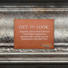 Achieve the look of antique mercury glass with this gorgeous combination! Get the look with Argentine, Tawny and Bronze Pearl Effects stippled over two coats of Queenstown Gray Milk Paint. Pallet Painting, Painting Tips, Painting On Wood, Paint Stain, Paint Finishes, Stain Techniques, Painting Techniques, Paint Effects, Milk Paint