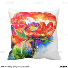 Red Poppy Throw Pillow is an original watercolor painting by H cooper. Available at Flying swan studio at Zazzle