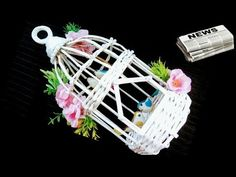 How to make Newspaper Bird Cage Diy Crafts For Gifts, Diy Craft Projects, Craft Tutorials, Diy Bird Cage, Bird Nest Craft, Art N Craft, Craft Work, Stick On Wallpaper, Wall Decor Crafts