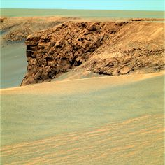 Victoria cliff, Mars    photo by Mars Exploration Rover Opportunity, 2006  via: NASA; Panoramic view