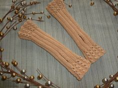 Beaded Knitted Fingerless Gloves Mittens by The Knitted Nest. $14.00, via Etsy.