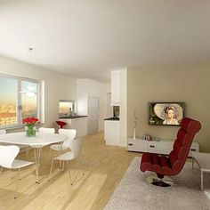 Minimalist Modern Interior Design for Your Home: Alluring Inimalist Interior Design Style Furniture Interior Contemporary Living Room Design Of Comfortable House Ideas With Cozy Red Chair On Grey Fur Rugs Also Furnish Wooden Floor Spaces ~ darvoda.com Interior Design Inspiration