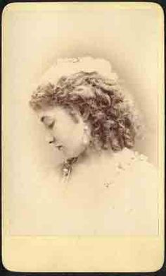"""Studio portrait CDV of American actress Kitty Blanchard, 1841-1911. When elderly and in need of funds, a benefit was given in her honor in a New York theater which included performances by legendary stage stars Nazimova and Ethel Barrymore, amongst others. Backmark of """"Gurney, New York""""."""