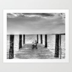 Pier Black & White Art Print by Kinseysmom - $15.60
