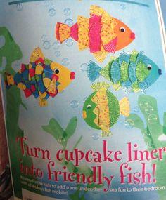 Cupcake liner fish craft