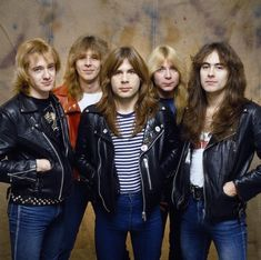 "Iron Maiden - ""quitessential"" Number of the Beast line up, c. 1982. Left to right: Adrian Smith (guitarist), Clive Burr (drummer, who sadly died in 2013), Bruce Dickinson (singer), Dave Murray (guitarist) and Steve Harris (bass)."