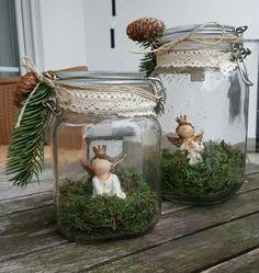 Weihnachten dekoration einmachglas engel
