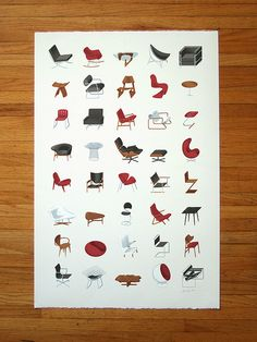 An illustrated collection of icon mid-century modern furniture, including Eames, Bertoia, Le Corbusier, van der Rohe, Noguchi & many more.