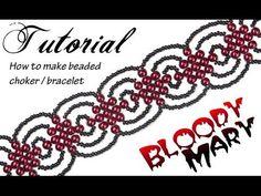 "Tutorial: beaded choker ""Bloody Mary"" / Чокер из бисера в готическом стиле ""Кровавая Мэри"" - YouTube Beaded Anklets, Beaded Choker, Beaded Bracelets, Bloody Mary, Beaded Jewelry Patterns, Beading Patterns, Loom Patterns, Loom Beading, Free Beading Tutorials"
