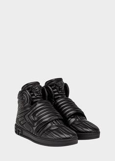 862eab4eefb Men S Velvet High-Top Sneaker With Golden Bar