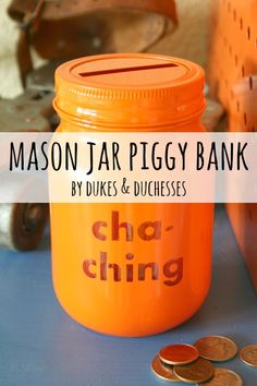 Transform a simple mason jar into a bright and fun mason jar piggy bank!