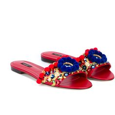 Dolce & Gabbana Pompom Embellished Leather Slides ($735) ❤ liked on Polyvore featuring shoes, sandals, colorful sandals, vintage flats, embellished sandals, open toe sandals and flats sandals