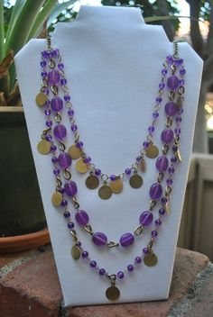 Pier 1 Imports Purple Beaded Three Strand Chain Necklace #Pier1Imports #Chain
