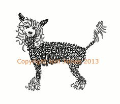 Dog Art Chinese Crested Calligram Typography by CalligramORama, $19.50