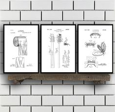 Bathroom Poster, Bathroom Art, Bathroom Decor, Bathroom Art, Toilet paper, Toilet Seat, Tooth Brush, Bathroom Wall Art, Bathroom 3 set by STANLEYprintHOUSE  7.50 USD  This is the ultimate bathroom patent set. It contains The Toilet seat patent https://www