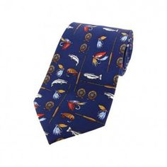 Soprano Blue Fishing Tackle Printed Silk Country Tie There can be no doubt that the Soprano Country Tie collection is the most comprehensive range of Modern Tailor, Fishing Gifts, Fishing Tackle, Blue Backgrounds, Deep Blue, Silk Ties, Handkerchiefs, Printed Silk, Country