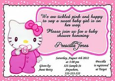 Hello Kitty Baby Shower Invites New Personalized Baby Hello Kitty Baby Shower Gi. Hello Kitty Baby Shower Invites New Personalized Baby Hello Kitty Baby Shower Girl Invitation Baby Shower Invites For Girl, Girl Shower, Hello Kitty Birthday Invitations, Hello Kitty Baby Shower, Baby Shower Invitation Templates, Cat Party, Baby Shower Decorations, Shower Ideas, Personalized Baby
