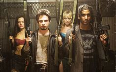 """""""Planet Terror"""" directed by Robert Rodriguez (Rose McGowan, Freddy Rodriguez, Marley Shelton, and Naveen Andrews) Best Zombie Movies, Scary Movies, Horror Movies, Cult Movies, Freddy Rodriguez, Death Proof, Movies Worth Watching, Internet Movies, Matthew Mcconaughey"""
