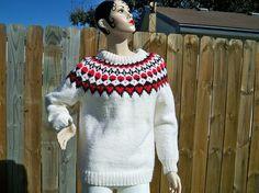 Vintage Ladies Icelandic Ski Sweater Handmade SALE by BlackRain4, $84.99