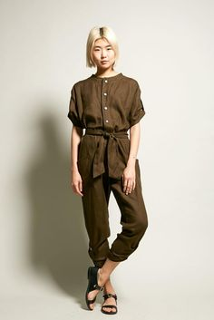 No.6 Wallace Jumpsuit in Olive Linen