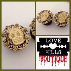 PICK SIZE Gold Glitter Plugs Chola sugar skull  Plugs on Etsy, $25.00