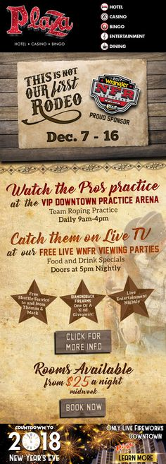The Plaza is your home for all things Rodeo National Finals Rodeo, Play Casino, Hotel Packages, Party Food And Drinks, Drink Specials, Plaza Hotel, How To Find Out, How To Memorize Things, Packaging