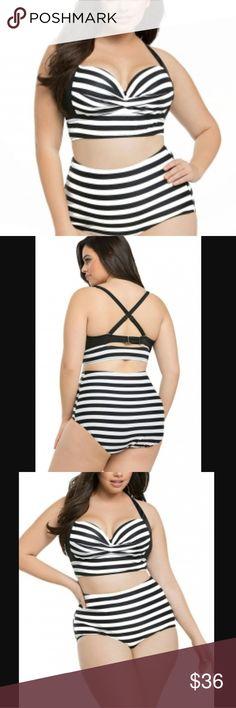 Plus Stripe Bikini Set NWOT plus size high waisted black and white striped bikini set. 2xl fits 14 3xl fits16 4xl fits 18 Swim Bikinis