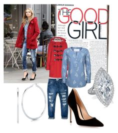 """""""The Good Girl"""" by kmartin0820 ❤ liked on Polyvore featuring Burberry, MANGO, Brakeburn, Gianvito Rossi and Roberto Coin"""
