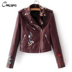 CWLSP 2017 New 3D Embroidery Women Jacket Coat PU Jackets Turn Down Collar jaqueta feminina chaqueta mujer 5 Colors QL3203